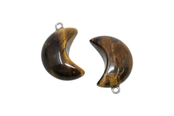 Tiger Eye Crescent Moon Charm
