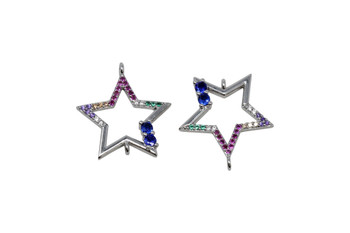 Silver Micro Pave 20mm Hollow Multi Color Star