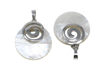 Mother of Pearl Silver Spiral Pendant