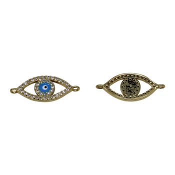 Gold Micro Pave 8x20mm Open Evil Eye Link