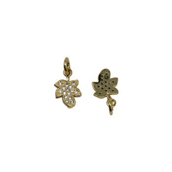Gold Micro Pave 7x9mm Leaf Charm