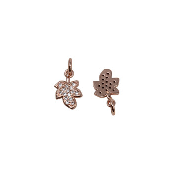 Rose Gold Micro Pave 7x9mm Leaf Charm