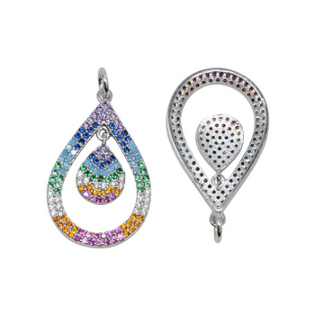 Platinum 16x25mm Micro Pave Double Drop Multi Rainbow Pendant