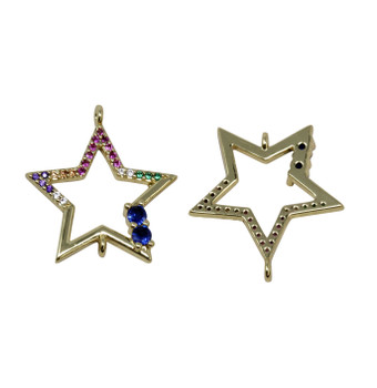 Gold Micro Pave 20mm Hollow Multi Color Star