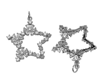 Silver 26mm Micro Pave Fancy Star Pendant