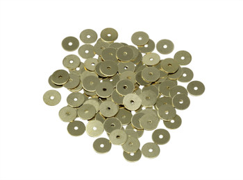6mm Skinny Disc Spacers Gold Plated Brass - 100 Pieces