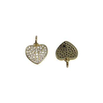 Gold Micro Pave 10mm Heart Charm