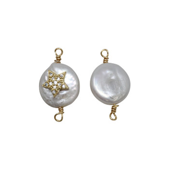 Freshwater Pearl Coin with Gold Micro Pave Star Connector