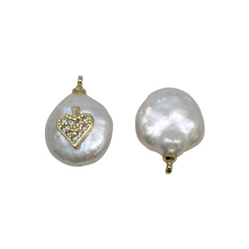 Freshwater Pearl Coin with Gold Micro Pave Heart Charm