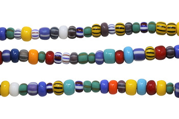 Turquoise Mix 6-8mm Glass Pony Beads
