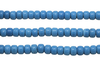 Opaque Blue 8mm Glass Pony Beads