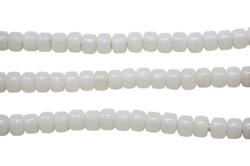 Translucent White 8mm Glass Pony Beads
