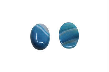 Blue Striped Agate Polished 13x18mm Oval Cabochon