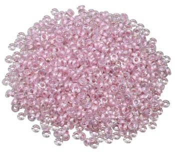 Size 8 Toho Demi Round Seed Beads -- Crystal Rainbow / Bubblegum Lined