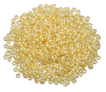 Size 8 Toho Demi Round Seed Beads -- Crystal / Light Jonquil Lined
