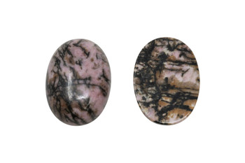 Black Veined Rhodonite Polished 18x25mm Oval Cabochon