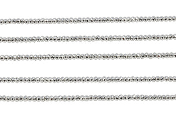 Sterling Silver Plated Hematite Polished 2x3mm Faceted Rondel