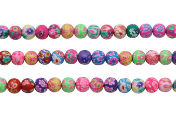 Polymer Clay 8mm Multi Color Floral Round