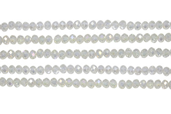 Glass Crystal Polished 4.5x5.5mm Faceted Rondel - Transparent Light Jonquil AB