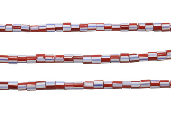 Chevron Glass Trade Beads Polished 6mm Tube