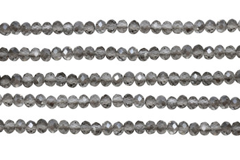 Glass Crystal Polished 4.5x5.5mm Faceted Rondel - Transparent Grey