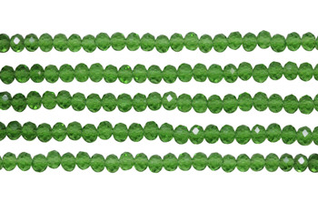 Glass Crystal Polished 4.5x5.5mm Faceted Rondel - Transparent Green