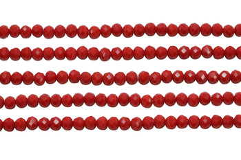 Glass Crystal Polished 4.5x5.5mm Faceted Rondel - Red Opal