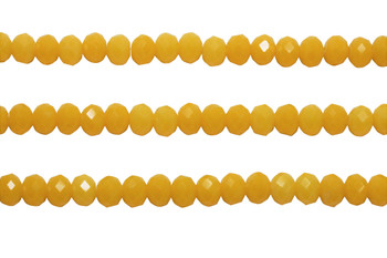 Glass Crystal Polished 8x6mm Faceted Rondel - Sunflower Yellow