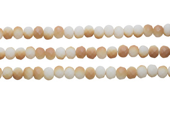Glass Crystal Matte 5.5x7.5mm Faceted Rondel - Opaque Peaches and Cream