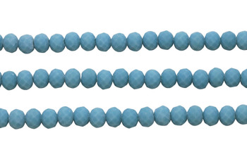Glass Crystal Matte 8x6mm Faceted Rondel - Opaque Teal