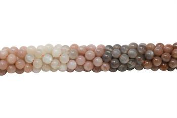 Moonstone Polished 6mm Round - Multi Color Banded
