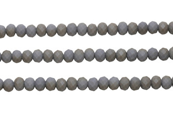 Glass Crystal Matte 5.5x7mm Faceted Rondel - Opaque Lavender Grey / Champagne