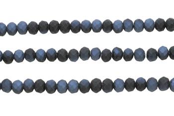 Glass Crystal Matte 8x6mm Faceted Rondel - Black Grey