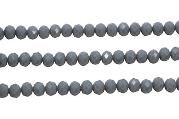 Glass Crystal Polished 6x7mm Faceted Rondel - Opaque Dark Grey