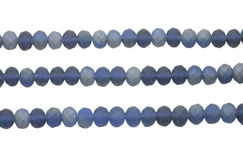 Glass Crystal Matte 8x6mm Faceted Rondel - Blue Grey