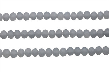 Glass Crystal Matte 6x7mm Faceted Rondel - Grey