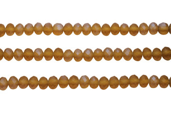 Glass Crystal Matte 6x7mm Faceted Rondel - Amber / Grey