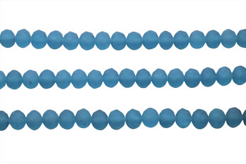 Glass Crystal Matte 6x7.5mm Faceted Rondel - Ocean Blue