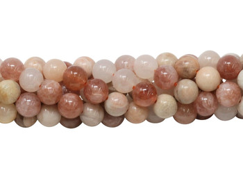 Multi Color Peach Moonstone Polished 8mm Round