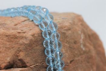 Sky Blue Topaz Polished 6mm Faceted Round - Heat Treated