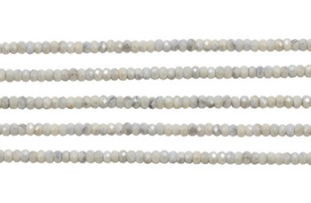 White Sapphire 3.5-4mm Faceted Rondel