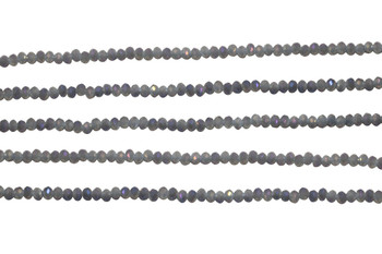 Glass Crystal Polished 2x3mm Faceted Rondel - Dark Grey AB Satin