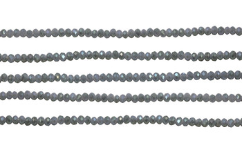 Glass Crystal Polished 2.5x3mm Faceted Rondel - Grey AB Satin