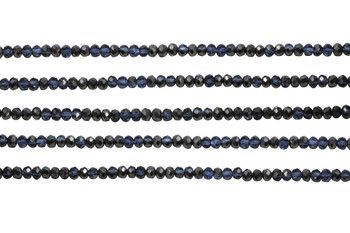 Glass Crystal Polished 2.5x3mm Faceted Rondel - Transparent Midnight Blue Satin