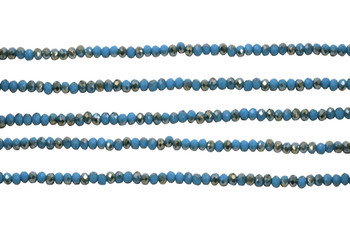 Glass Crystal Polished 2x3mm Faceted Rondel - Cerulean Blue Half Plated Champagne