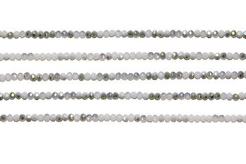 Glass Crystal Polished 2.5x3mm Faceted Rondel - White Half Plated Khaki Metallic AB