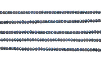 Glass Crystal Polished 2.5x3mm Faceted Rondel - Blue / Grey Satin