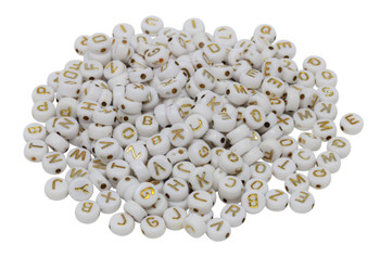 Acrylic White and Gold Alphabet Beads - 260 Beads - 10 of Each Letter