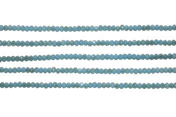 Glass Crystal Polished 2.5x3mm Faceted Rondel - Seafoam Satin Half Plated Champagne