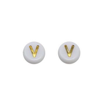 Acrylic White and Gold Alphabet Bead - V